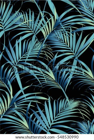 Tropical leaves pattern in vector and green color.