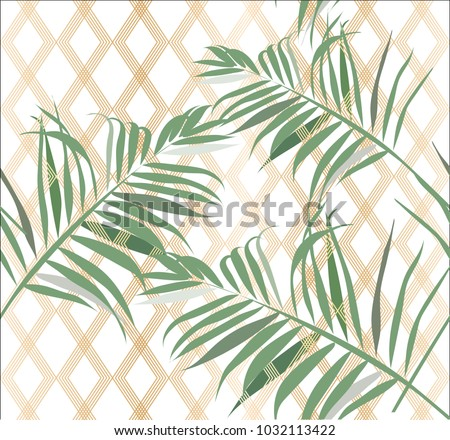Tropical leaves pattern vector with Gold geometric background.