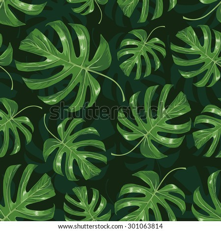 tropical leaves seamless dark