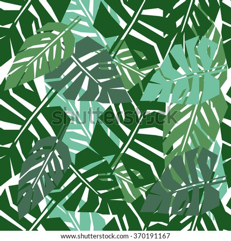 Tropical leaves seamless pattern. Green palm leaves background. Jungle illustration. #370191167
