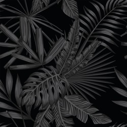Tropical leaves seamless pattern in black and white style. Beach wallpaper