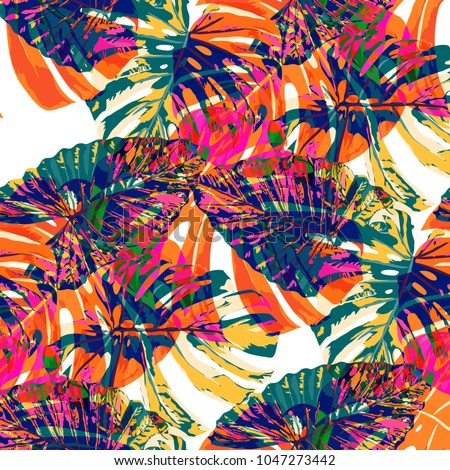 Tropical Leaves. Seamless Texture with Bright Hand Drawn Leaves of Monstera. Spring Rapport for Print, Cloth, Fabric. Vector Seamless Background with Tropic Plants. Watercolor Effect.