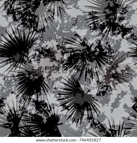 Tropical military vector palm leaves repeating floral pattern effect collage forest background. Exotic leaves coconut foliage black and gray color  jungle.