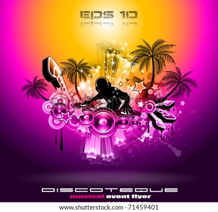 Tropical Music Party Disco Flyer with Sunset Magic lights