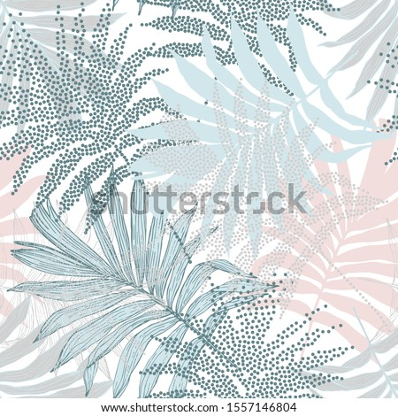 Tropical nature seamless pattern. Hand drawn silhouettes, line art, half tones of palm leaves background for textile, fabric, wallpaper. Vector art illustration in retro pastel colors