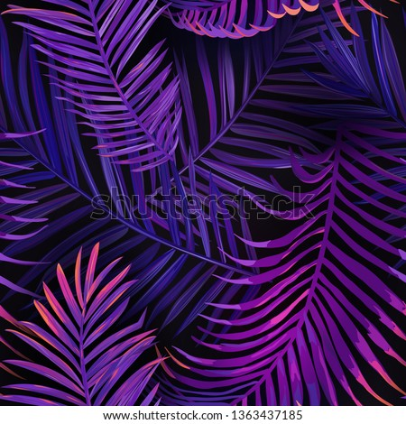 Tropical Neon Palm Leaves Seamless Pattern. Jungle Purple Colored Floral Background. Summer Exotic Botanical Foliage  Design with Tropic Plants for Fabric, Fashion Textile, Wallpaper. Vector