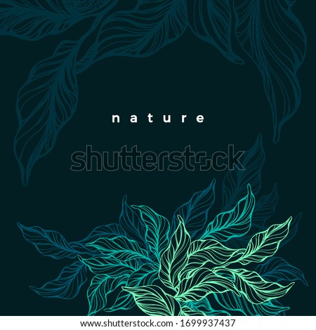 Tropical neon plant. Vector hand drawn green leaf, fresh foliage. Art sketch. Dark night, exotic land. Abstract texture background. Wild jungle. Graphic illustration