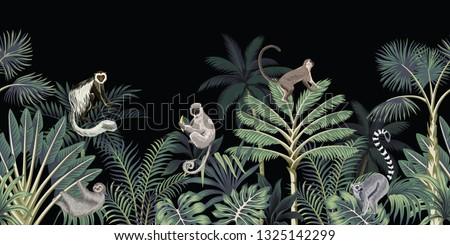 Tropical night vintage floral palm tree, banana tree, plants, wild animals monkey, sloth, lemur seamless border black background. Exotic dark jungle wallpaper.