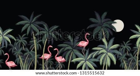 Tropical night vintage wild birds flamingo, palm tree and moon floral seamless border black background. Exotic dark jungle wallpaper.