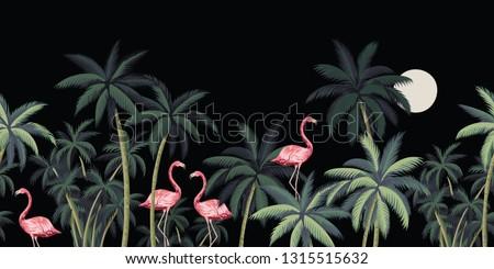 Tropical night vintage wild birds flamingo, palm tree and moon floral seamless border black background. Exotic dark jungle wallpaper.