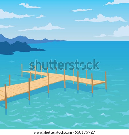 Tropical ocean landscape with wooden dock. Summer sky, clouds. Vector illustration of seascape with pier in flat faceted style for design, articles, print, card, poster. Scene for your artwork.