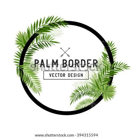 Tropical Palm Leaf Border Vector.