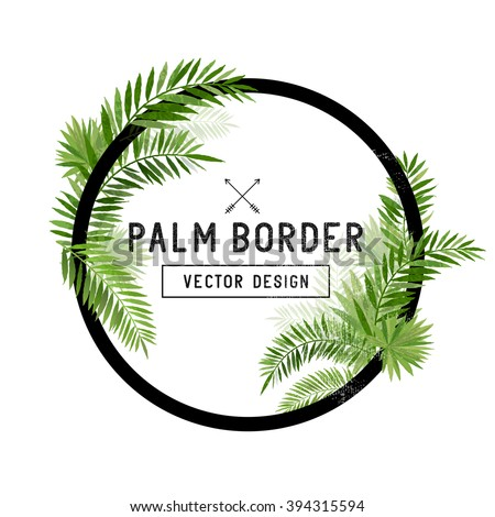 Tropical Palm Leaf Border Vector. summer Palm tree leaves around a circle border. Vector illustration.