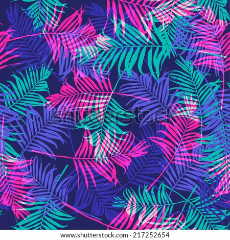 tropical palm leaf pattern neon