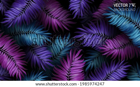 Tropical palm leaf pattern neon colored. Summer night jungle background. Tropical illustration for beach nightclub or flyer. Foto d'archivio ©