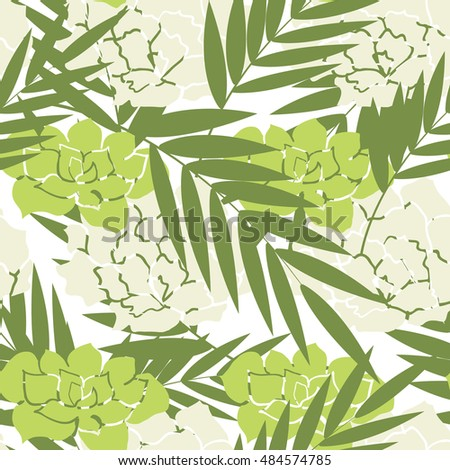 Tropical palm leaves and field flowers pattern. Branches and leaves of tropical plants and flowers. Vector illustration. #484574785