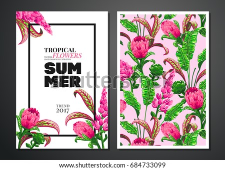 Tropical palm leaves and flowers background. Invitation or card design with jungle leaves and exotic flowers. Vector illustration in trendy style.