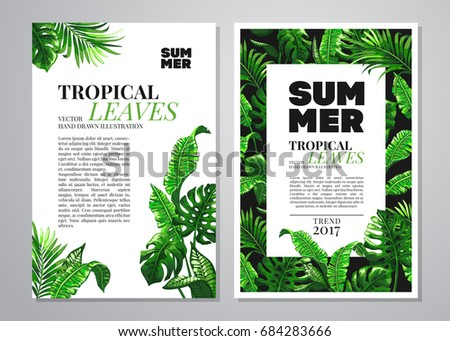 Tropical palm leaves background. Invitation or card design with jungle leaves. Vector illustration in trendy style.