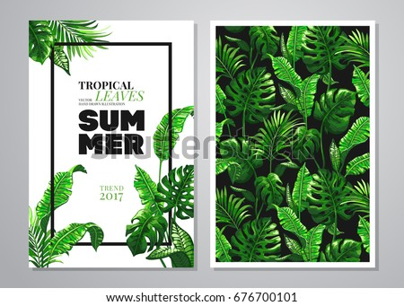 Tropical palm leaves background. Vector illustration in trendy style.  Invitation or card design with jungle leaves.