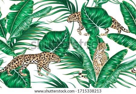 Tropical palm leaves, banana leaf, green foliage, plant, wild animal leopard, cheetah floral vector seamless pattern on white background. Exotic jungle illustration wallpaper