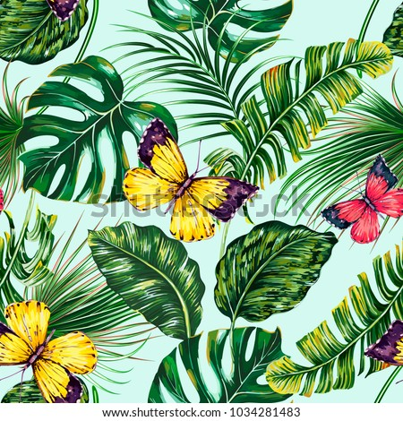 Tropical palm leaves, jungle leaf, monstera, butterflies floral vector seamless pattern. Summer green foliage, butterfly illustration on blue background