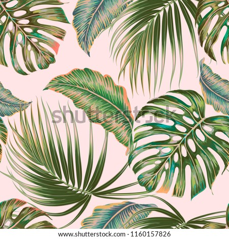 Tropical Palm Leaves Jungle Leaf Vector Seamless Floral