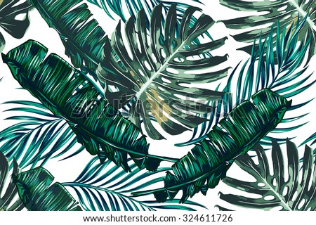 Tropical palm leaves, jungle leaves seamless vector floral pattern background ストックフォト ©