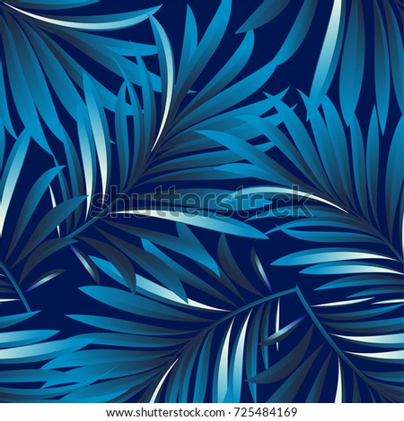 Tropical palm leaves, jungle leaves. Vector floral pattern background.