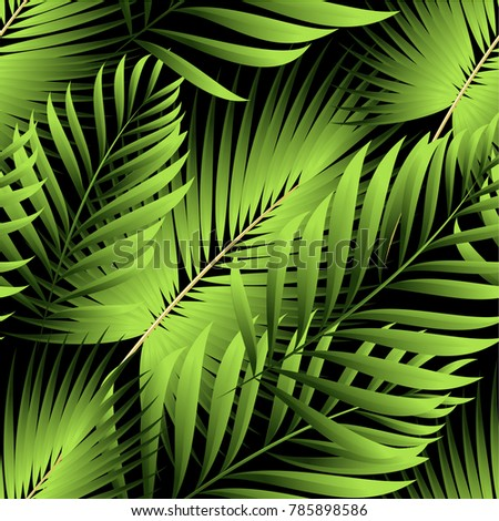 Tropical palm leaves, jungle leaves. Vector floral seamless pattern background.