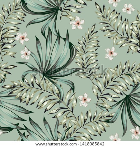 Tropical palm leaves, plumeria flowers, gray green background. Vector seamless pattern. Jungle foliage illustration. Exotic plants. Summer beach floral design. Paradise nature
