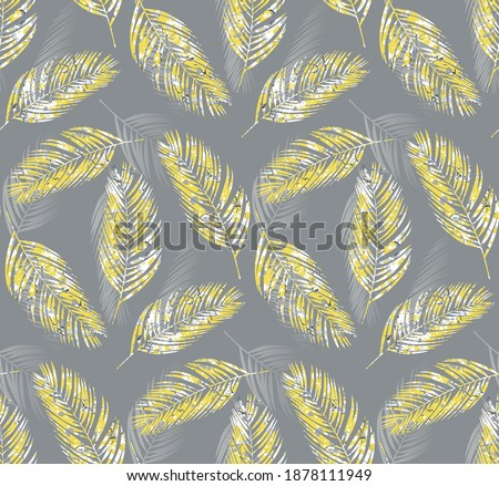 Tropical palm leaves seamless pattern, illuminating yellow color, marbling effect, ultimate gray background, vector illustration, fashion, interior, wrapping