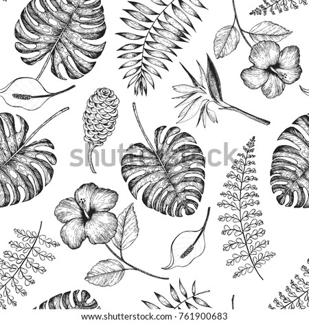 Tropical palm leaves seamless pattern. Vector illustration leaves of palm. Jungle pattern. Print on cloth template.