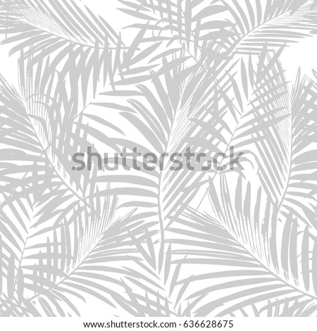Tropical palm leaves seamless vector floral jungle pattern background.