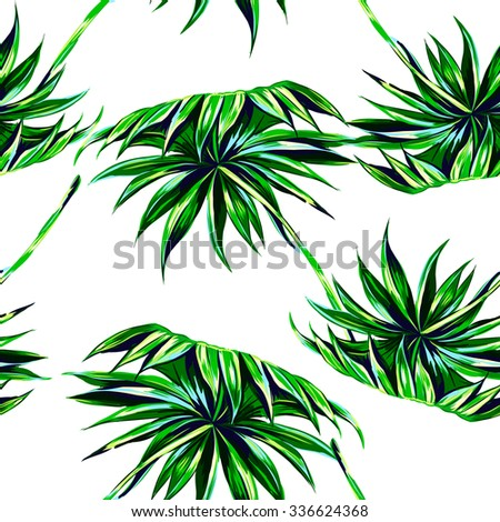 Tropical palm leaves seamless vector floral pattern background - Shutterstock ID 336624368