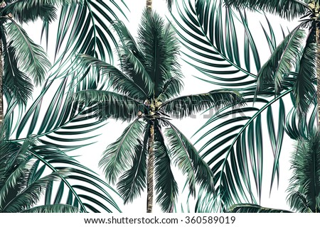 Tropical Palm Leaves Trees Seamless Vector Floral Pattern Background