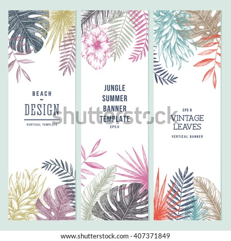 Tropical palm leaves. Vertical banner set. Vector illustration #407371849