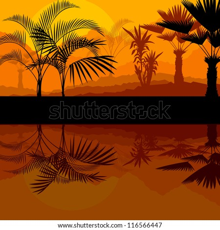 Tropical palm tree background vector with water reflection - stock vector