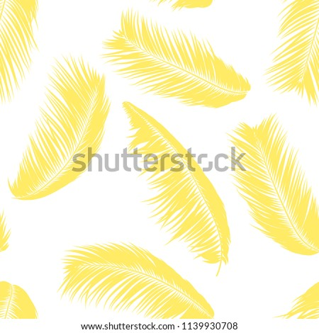 Tropical Palm Tree Leaves. Vector Seamless Pattern. Simple Silhouette Coconut Leaf Sketch. Summer Floral Background. Wallpaper of Exotic Palm Tree Leaves for Textile, Fabric, Cloth Design, Print, Tile