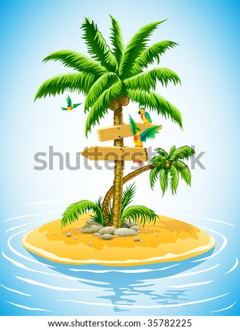 tropical palm tree on the uninhabited island in the ocean - vector illustration