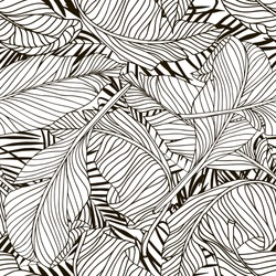 Tropical palm trees and banana leaves. Abstract background seamless pattern. Black and white.