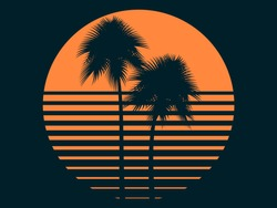 Tropical palm trees in the sun. Summer sunset. Print design for t-shirt. Vector illustration