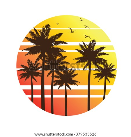 tropical palm trees island