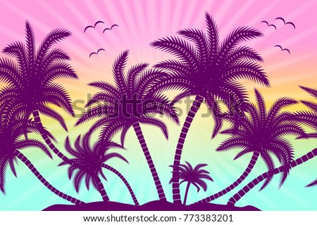 tropical palm trees with birds