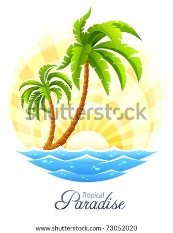 tropical palm with sea wave on sunny background vector illustration isolated white - stock vector