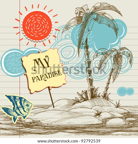 Tropical paradise background, sea holiday flyer vector illustration