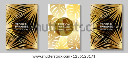 Tropical paradise leaves vector covers set. Cool floral A4 page design. Exotic tropic plant leaf vector. Summer card template. Tropical forest plant gold foliage, circle frame, title place #1255123171
