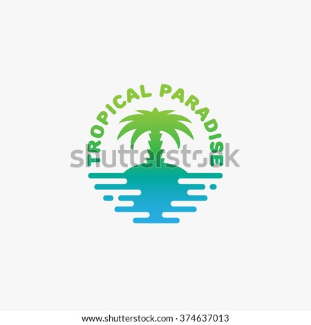 tropical paradise logo template
