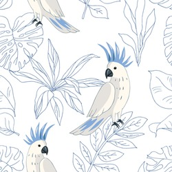 Tropical parrot birds, blue outline palm leaves, white  background. Vector seamless pattern. Jungle illustration. Exotic plants. Summer beach floral design. Paradise nature