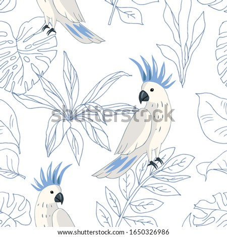 Tropical parrot birds, blue outline palm leaves, white  background. Vector seamless pattern. Jungle illustration. Exotic plants. Summer beach floral design. Paradise nature stock photo