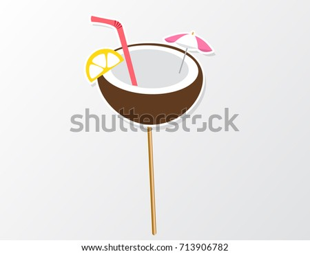 Tropical party photo booth prop on a stick coconut juice inspired by summer. Hawaii vector element for party.